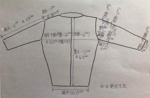 ジャケット寸法イラスト図