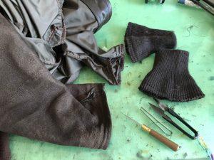 G-1袖裾リブ交換・ステッチ補修190620H